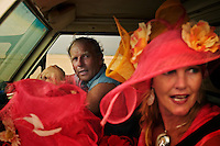 Richard Costin and his partner Shannon Meyers riding in a jeep.  Richard was photographing Shannon on the beach with her hat creations as a promo for the hat store she wants to open in Broome.  Richard is a freelance videographer and miner. When he worked as a miner at the Cockatoo Island mine, he noticed they were illegally dumping over the seawall and destroying the reef.  He made a video of the environmental abuse, blew the whistle and lost his job in the process.  But, once the local television stations aired the video, the companies stock dropped 10 percent the next day and they changed their ways and quit destroying the reef.<br /> <br /> Broome has 15,000 regular residents, but swells to 100,000 in tourist season.