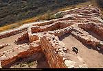 Reconstructed Pueblo Walls, Southern Rooms from Citadel, Tuzigoot Sinagua Pueblo, Tuzigoot National Monument, Verde Valley, Arizona