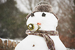 A snowman keeps his spirits up in the snow at Woodstock Hill in Ennis. Photograph by John Kelly.