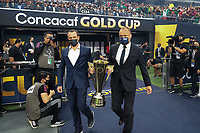 LAS VEGAS, NV - AUGUST 1: The Gold Cup trophy before a game between Mexico and USMNT at Allegiant Stadium on August 1, 2021 in Las Vegas, Nevada.