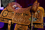 Saddle during the Steer Wrestling Back Number Presentation of the Junior World Finals. Photo by Andy Watson. Written permission must be obtained to use this photo in any manner.