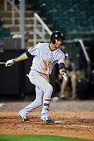 Jackson Generals right fielder Victor Reyes (5) follows through on a swing during a game against the Chattanooga Lookouts on April 27, 2017 at The Ballpark at Jackson in Jackson, Tennessee.  Chattanooga defeated Jackson 5-4.  (Mike Janes/Four Seam Images)