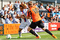 Michael Gash of Barnet (right) and Reise Allassani (left) of Crystal Palace battle for the ball during the Friendly match between Barnet and Crystal Palace at The Hive, London, England on 11 July 2015. Photo by David Horn.