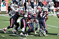 27th September 2020, Foxborough, New England, USA;  New England Patriots running back Sony Michel (26) hits the line of scrimmage during the game between the New England Patriots and the Las Vegas Raiders