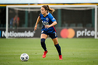 TACOMA, WA - JULY 31: Lauren Barnes #3 of the OL Reign looks for a pass during a game between Racing Louisville FC and OL Reign at Cheney Stadium on July 31, 2021 in Tacoma, Washington.