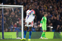Wilfried Zaha of Crystal Palace smiles during the Premier League match between Chelsea and Crystal Palace at Stamford Bridge, London, England on 4 November 2018. Photo by Andy Rowland.<br /> .<br /> (Photograph May Only Be Used For Newspaper And/Or Magazine Editorial Purposes. www.football-dataco.com)