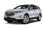 Stock pictures of low aggressive front three quarter view of a 2020 Chevrolet Equinox Premier 5 Door SUV