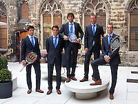 16-9-09, Netherlands,  Maastricht, Tennis, Daviscup Netherlands-France, Team zonder Sluiter, v.l.n.r.: Igor Sijsling, Jesse Huta Galung, Robin Haase, captain Jan Siemerink en kopman Thiemo de Bakker