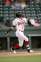 Second baseman Kervin Suarez (36) of the Greenville Drive bats in a game against the Hickory Crawdads on Wednesday, May 15, 2019, at Fluor Field at the West End in Greenville, South Carolina. Greenville won, 6-5. (Tom Priddy/Four Seam Images)