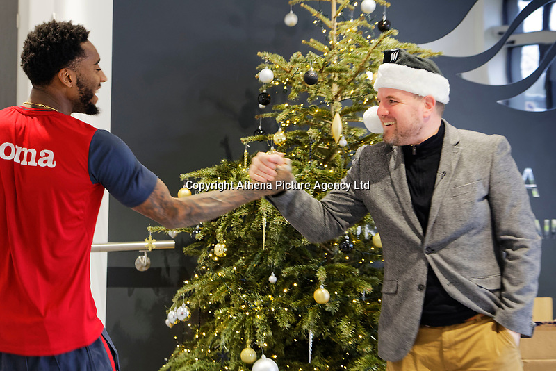 Pictured: Swansea City player Leroy Fer greets Gareth Vincent. Friday 22 December 2017<br /> Re: Swansea City FC training at Fairwood training ground, UK