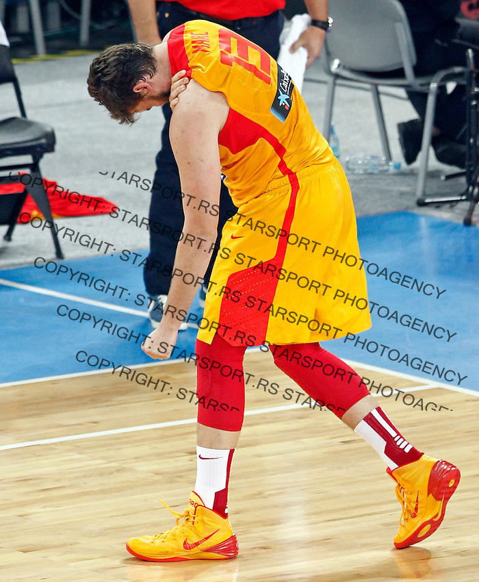 "Marc Gasol of Spain gestures during European basketball championship ""Eurobasket 2013"" semifinal basketball game between Spain and France in Stozice Arena in Ljubljana, Slovenia, on September 20. 2013. (credit: Pedja Milosavljevic  / thepedja@gmail.com / +381641260959)"
