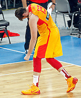 "Marc Gasol of Spain gestures during European basketball championship ""Eurobasket 2013"" semifinal basketball game between Spain and France in Stozice Arena in Ljubljana, Slovenia, on September 20. 2013. (credit: Pedja Milosavljevic  / thepedja@gmail.com / +381641260959)"
