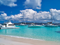 Beach and boats. Jost Van Dyke. British Virgin Islands
