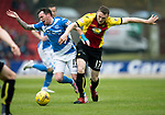 St Johnstone v Partick Thistle…13.05.17     SPFL    McDiarmid Park<br />Danny Swanson is sent flying by Niall Keown<br />Picture by Graeme Hart.<br />Copyright Perthshire Picture Agency<br />Tel: 01738 623350  Mobile: 07990 594431