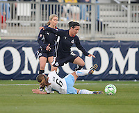 Washington Freedom forward Lisa De Vanna (17) leaps over a diving Chicago Red Stars defender Brittany Klein (6) Washington Freedom tied Chicago Red Stars 1-1 at The Maryland SoccerPlex, Saturday April 11, 2009.
