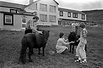 Hotel guests. Family with Shetland Ponies, Shetland Islands 1970s.