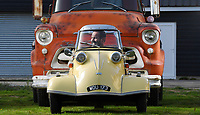 BNPS.co.uk (01202) 558833 <br /> Pic: ZacharyCulpin/BNPS<br /> <br /> Good little runner....<br /> <br /> A tiny German bubble car that is less than 4ft long is expected to sell for big money.<br /> <br /> The rare Messerschmitt KR200 was built in 1959 after the famous German company had been banned from making planes for the Luftwaffe.<br /> <br /> The micro cars were cheap and easy to mass produce at a time of austerity after the Second World War. But by the 1970s they were seen as a figure of fun and many of them were discarded. <br /> <br /> Today they are highly collectable and the KR200, which has been fully restored by its owner John Sandford-Hart (PICTURED), is tipped to sell for £30,000.<br /> <br /> It will go under the hammer with auctioneers Charterhouse, of Sherborne, Dorset.