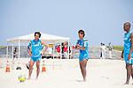 (L-R) Teruki Tabata, Masahito Toma, Ozu Moreira (JPN),<br /> APRIL 20, 2014 - Beach Soccer :<br /> Beach Soccer Japan national team candidates training camp in Okinawa, Japan. (Photo by Wataru Kohayakawa/AFLO)