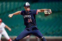 Pitcher Andrew Painter (24) during the Under Armour All-America Game, powered by Baseball Factory, on July 22, 2019 at Wrigley Field in Chicago, Illinois.  Andrew Painter attends Calvary Christian Academy in Pompano Beach, Florida and is committed to the University of Florida.  (Mike Janes/Four Seam Images)