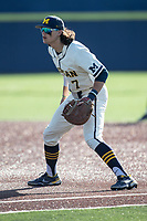 Michigan Wolverines first baseman Jake Marti (7) on defense against the Michigan State Spartans on March 21, 2021 in NCAA baseball action at Ray Fisher Stadium in Ann Arbor, Michigan. Michigan scored 8 runs in the bottom of the ninth inning to defeat the Spartans 8-7. (Andrew Woolley/Four Seam Images)
