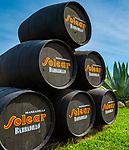Spanien, Andalusien, Provinz Cádiz, eine Solera von Sherry-Faessern, Bodegas Solear | Spain, Andalusia, Province Cádiz, a solera of Sherry barrels, Bodegas Solear