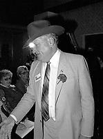 Montreal (Qc) CANADA - May 13 1984-<br /> Eugene Whelan at Liberal Party of Canada leadership debate at Montreal's Queen Elizabeth Hotel.<br /> <br /> <br /> Eugene Whelan, candidat a  la Chefferie du PLC, lors du dÈbat a l Hotel Reine Elizabeth de Montreal, le 13 Mai 1984