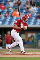 Clearwater Threshers outfielder Andrew Pullin (17) at bat during a game against the Tampa Yankees on April 21, 2015 at Bright House Field in Clearwater, Florida.  Clearwater defeated Tampa 3-0.  (Mike Janes/Four Seam Images)