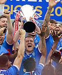 15.05.2021 Rangers v Aberdeen: Steven Davis with the SPFL Premiership league trophy