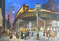 American Painters:  John Sloan--Six Ave. Elevated at 3rd St., 1928.  Oil on canvas.  Whitney Museum.