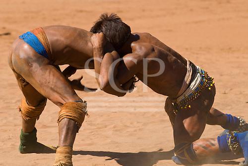 Xingu Indigenous Park, Mato Grosso State, Brazil. Aldeia Waura. Huka-Huka fighting.