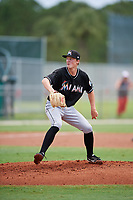 GCL Marlins starting pitcher Dakota Bennett (40) delivers a pitch during the second game of a doubleheader against the GCL Nationals on July 23, 2017 at Roger Dean Stadium Complex in Jupiter, Florida.  GCL Nationals defeated the GCL Marlins 1-0.  (Mike Janes/Four Seam Images)