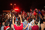Fans of Turkey stopped the bus of their National basketball team and celebrate at the highroad after winning the second semifinal basketball match between National teams of Serbia and Turkey at 2010 FIBA World Championships. EXPA Pictures © 2010, PhotoCredit: EXPA/ Sportida/ Vid Ponikvar *** ATTENTION *** SLOVENIA OUT!