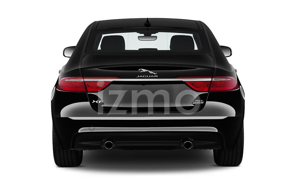 Straight rear view of a 2020 Jaguar XF Premium 4 Door Sedan stock images