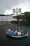 fishing harbour and church of Calheta de Nesquim. Pico  Island..