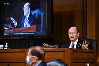 United States Senator Chris Coons (Democrat of Delaware) delivers remarks during the confirmation hearing for Supreme Court nominee Judge Amy Coney Barrett before the Senate Judiciary Committee on Capitol Hill in Washington, DC, USA, 15 October 2020. Barrett was nominated by President Donald Trump to fill the vacancy left by Justice Ruth Bader Ginsburg who passed away in September.<br /> Credit: Shawn Thew / Pool via CNP /MediaPunch