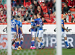 Aberdeen v St Johnstone…18.09.21  Pittodrie    SPFL<br />Stevie May celebrates his goal<br />Picture by Graeme Hart.<br />Copyright Perthshire Picture Agency<br />Tel: 01738 623350  Mobile: 07990 594431