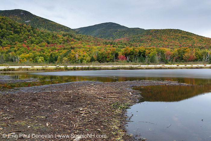 Scenic view from Saco Lake on Route 302 in Carroll, New Hamsphire during the autumn months.