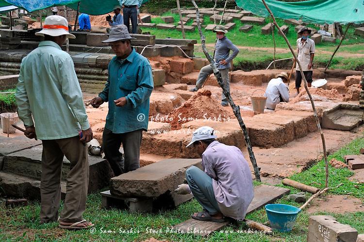Archeologists at Preah KhanTemple, Angkor Wat, Cambodia
