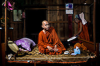 U Wirathu, the spiritual leader of the Buddhist nationalist 969 Movement, takes a rest before going on stage after travelling to give a sermon at the Shwe Areleain Monastery in Kyaw Min Village, Myiamu Township. U Wirathu is an abbot in the New Maesoeyin Monastery where he leads about 60 monks and has influence over more than 2,500 residing there. He travels the country giving sermons to religious and laypeople encouraging Buddhists to shun Muslim business and communities. /Felix Features