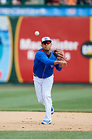 South Bend Cubs shortstop Isaac Paredes (16) throws to first base during a game against the Kane County Cougars on May 3, 2017 at Four Winds Field in South Bend, Indiana.  South Bend defeated Kane County 6-2.  (Mike Janes/Four Seam Images)