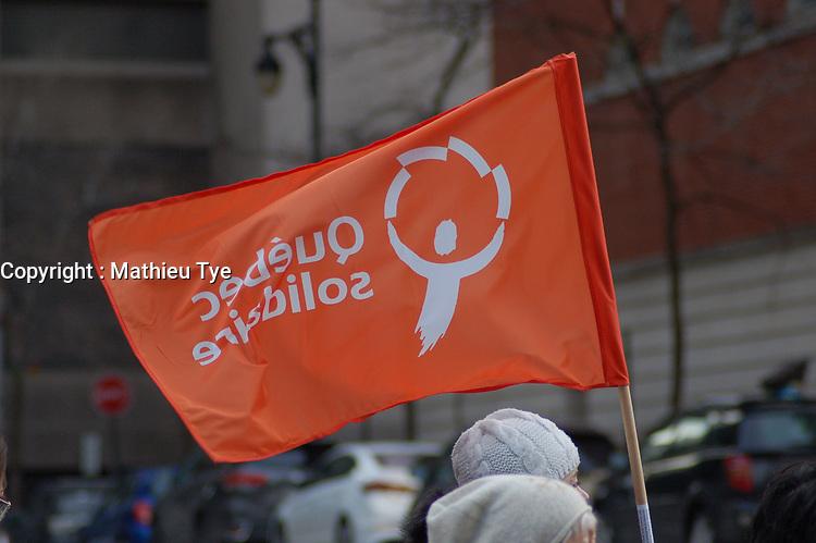 Manifestation organisee par Quebec Solidaire pour la demission du ministre Barrette, le 24 Février 2018, au parc Emilie-Gamelin<br /> <br /> PHOTO : agence quebec presse