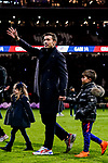 Former captain of Atletico de Madrid Gabriel Fernandez Arenas, Gabi, walks on the pitch with his kids as he attends a tribute in his honor after the La Liga 2018-19 match between Atletico de Madrid and RCD Espanyol at Wanda Metropolitano on December 22 2018 in Madrid, Spain. Photo by Diego Souto / Power Sport Images