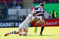 5th June 2021; Mattioli Woods Welford Road Stadium, Leicester, Midlands, England; Gallagher Premiership Rugby, Leicester Tigers versus Bristol Bears; Dave Attwood of Bristol Bears tackles Ben Youngs of Leicester Tigers