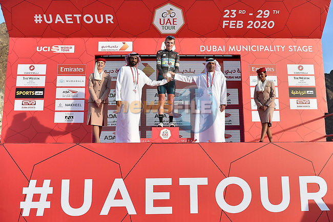 Veljko Stojnic retains the Black Jersey at the end of Stage 2 the Dubai Municipality Stage of the UAE Tour 2020 running 168km from Hatta to Hatta Dam, Dubai. 24th February 2020.<br /> Picture: LaPresse/Fabio Ferrari | Cyclefile<br /> <br /> All photos usage must carry mandatory copyright credit (© Cyclefile | LaPresse/Fabio Ferrari)