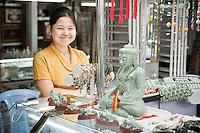Myanmar, Burma, Yangon.  Buddha Statue Carved from Jade, Scott's Market.