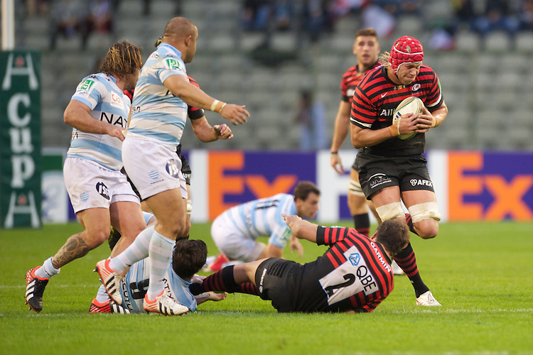 20121020 Copyright onEdition 2012©.Free for editorial use image, please credit: onEdition..Mouritz Botha of Saracens in action during the Heineken Cup Round 2 match between Saracens and Racing Metro 92 at the King Baudouin Stadium, Brussels on Saturday 20th October 2012 (Photo by Rob Munro)..For press contacts contact: Sam Feasey at brandRapport on M: +44 (0)7717 757114 E: SFeasey@brand-rapport.com..If you require a higher resolution image or you have any other onEdition photographic enquiries, please contact onEdition on 0845 900 2 900 or email info@onEdition.com.This image is copyright the onEdition 2012©..This image has been supplied by onEdition and must be credited onEdition. The author is asserting his full Moral rights in relation to the publication of this image. Rights for onward transmission of any image or file is not granted or implied. Changing or deleting Copyright information is illegal as specified in the Copyright, Design and Patents Act 1988. If you are in any way unsure of your right to publish this image please contact onEdition on 0845 900 2 900 or email info@onEdition.com