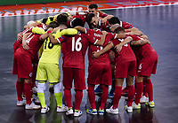 9th October 2020; Palau Blaugrana, Barcelona, Catalonia, Spain; UEFA Futsal Champions League Finals; Mrucia FS versus MFK Tyumen;  The Mrucia team huddle before kick-off