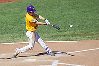 LSU Tigers shortstop Alex Bregman (8) swings the bat during the NCAA College baseball World Series against the Cal State Fullerton on June 16, 2015 at TD Ameritrade Park in Omaha, Nebraska. LSU defeated Fullerton 5-3. (Andrew Woolley/Four Seam Images)
