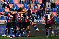 Musa Barrow of Bologna FC celebrates with team mates after scoring the goal of 1-0 during the Serie A football match between Bologna FC and SS Lazio at Renato Dall'Ara stadium in Bologna (Italy), October 3rd, 2021. Photo Andrea Staccioli / Insidefoto