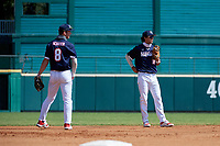 Third baseman Cody Schrier (8) and shortstop Marcelo Mayer (10) warm up in between innings during the Baseball Factory All-Star Classic at Dr. Pepper Ballpark on October 4, 2020 in Frisco, Texas.  Marcelo Mayer (10), a resident of Chula Vista, California, attends Eastlake High School.  (Mike Augustin/Four Seam Images)